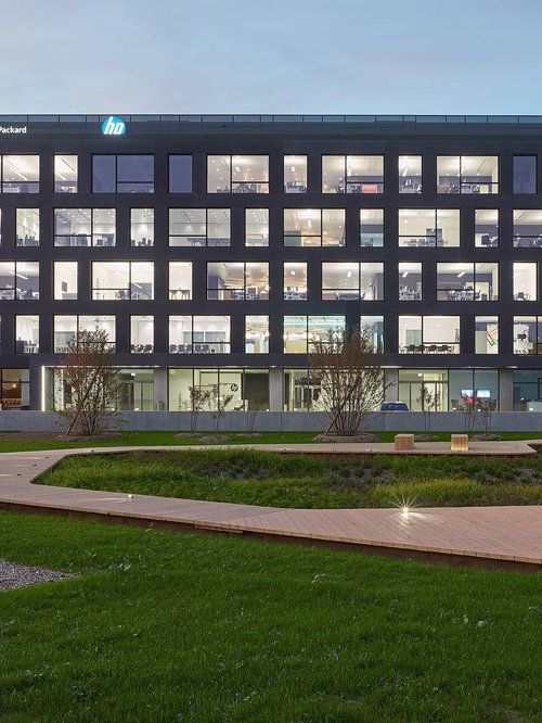 Architecture de CCHE du bâtiment administratif Headquarters HP Inc. et HP Enterprise Suisse